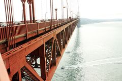 Golden Gate in a foggy day. The Golden Gate bridge in San Francisco, California, in a foggy day Royalty Free Stock Photo