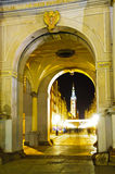 Golden gate in gdansk at night Royalty Free Stock Images