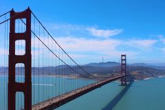 Golden Gate At a Glance. Beautiful picture of the stunning view of the amazing and historical Golden Gate Bridge located in San Francisco, California Stock Photo