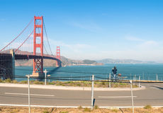 Golden Gate i San Francisco - cykelbana Royaltyfria Bilder