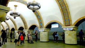 Golden Gate Metro Station in Kiev, Ukraine. KIEV, UKRAINE - APRIL 14, 2018: Interior of Zoloti Vorota Golden Gate Metro station, decorated in ancient Slavic stock footage