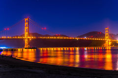 Golden Gate at night in San Francisco, California stock images