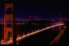 Golden Gate Nightshot. A Long Exposure of The Golden Gate Bridge as seen from The Marin Headlands Stock Photo