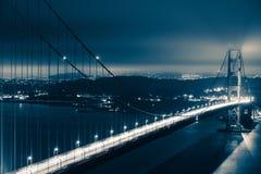 Golden Gate nocy sceneria Fotografia Royalty Free