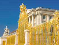 Golden gate and Palace facade in Versailles Royalty Free Stock Photo