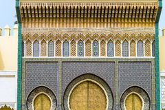 The golden Gate of the palace in fez royalty free stock photography