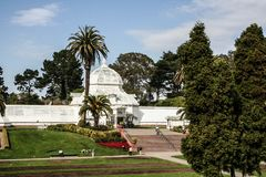 Golden Gate Park and the conservatory of flowers stock photos