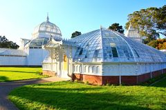 Golden Gate Park in San Francisco California. Aerial view of the garden of the Conservatory of Flowers, a greenhouse and botanical garden housing rare and exotic stock photography