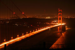 Golden Gate Bridge at night. The Golden Gate Bridge in the night Royalty Free Stock Images
