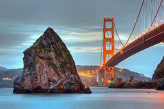 Golden Gate and Rock Royalty Free Stock Photos
