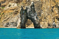 Golden Gate rock in the Black Sea. In clear weather Royalty Free Stock Photography