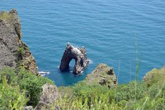 The Golden Gate Rock in the Black Sea stock images
