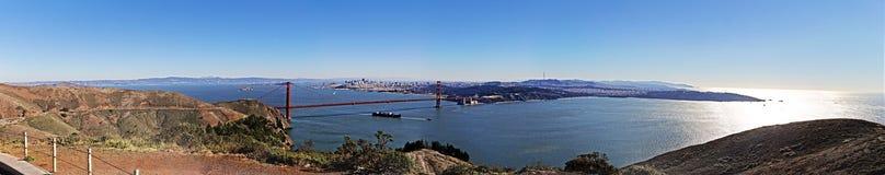 Golden Gate San Francisco Panorama. Panorama of the Golden Gate Bridge in San Francisco with the view of the city, the bay, Alcatraz, Treasure Island, Bay Bridge Stock Photos