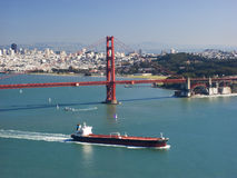 Golden Gate and ship Royalty Free Stock Images