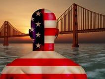Golden Gate-Staatsangehörigfarben Stockfoto