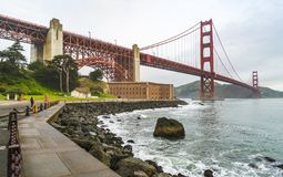 Golden gate when sunset with fog in winter,San francisco,California,usa.  royalty free stock images