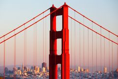 Golden Gate View At Dusk Royalty Free Stock Photo