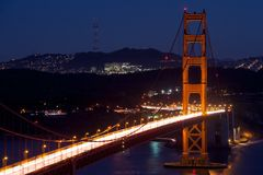 Golden Gate View at Night Stock Photos