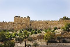 Golden Gate in the walls of the Old City of Jerusalem , Israel Stock Photo