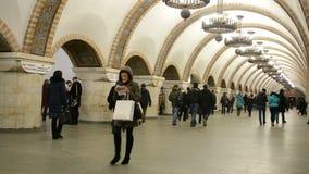 Golden Gate (Zoloti Vorota) subway station in Kiev, Ukraine,. KIEV - JAN 15: Golden Gate (Zoloti Vorota) subway station on January 15, 2014 in Kiev, Ukraine. It stock footage