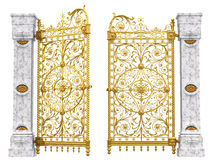 Golden gates and columns. Illustrated golden filigree gates between marble columns isolated against a white background stock illustration