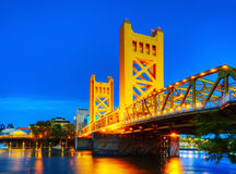 Golden Gates drawbridge in Sacramento. In the night time Royalty Free Stock Image