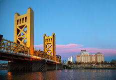 Golden Gates drawbridge in Sacramento. In the night time Royalty Free Stock Photo