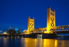 Golden Gates drawbridge in Sacramento. At the night time Royalty Free Stock Photography