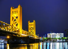 Golden Gates drawbridge in Sacramento. At the night time Royalty Free Stock Photos