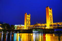 Golden Gates drawbridge in Sacramento. At the night time Royalty Free Stock Image