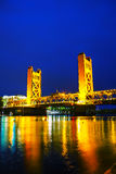 Golden Gates drawbridge in Sacramento. At the night time Stock Photo