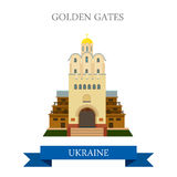 Golden Gates Kyiv Kiev Ukraine flat vector attraction landmark Royalty Free Stock Photos