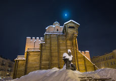 Golden Gates and Yaroslav the Wise monument Stock Image