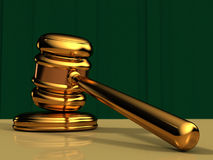 Golden Gavel with Green Background Stock Images