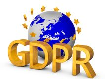 Golden GDPR 3D concept isolated on white Stock Images
