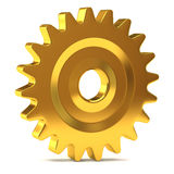 Golden gear. Isolated on white background Stock Images
