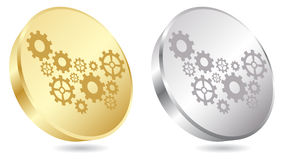 Golden gear button Stock Images