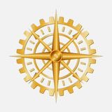Golden gear compass. royalty free illustration