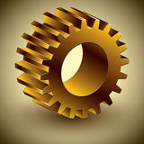 Golden gear 3d vector icon. Royalty Free Stock Image