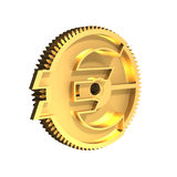 Golden gear with Euro symbol, 3D illustration. Stock Photos
