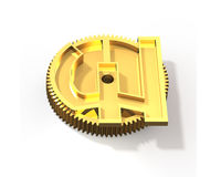 Golden gear with pound symbol, 3D illustration. Stock Photo