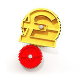 Golden gear with pound symbol, 3D illustration. Royalty Free Stock Image