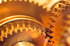 Golden gear wheels Stock Photo