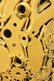 Golden gear wheels Royalty Free Stock Photography