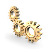 Golden Gears. High-Resolution 3d concept art showing the meeting point of 3 golden gears Stock Images
