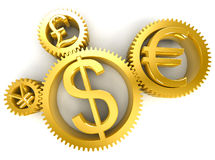 Golden gears. Currency symbols in 3D Stock Photo
