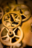 Golden gears. Closeup conceptual image of golden gears. Shallow depth of field Royalty Free Stock Image