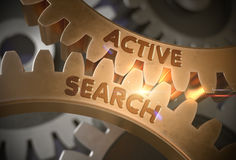 Golden Gears with Active Search Concept. 3D Illustration. Stock Photo