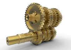 Golden gears assembly Royalty Free Stock Image