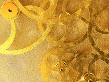 Golden gears background Stock Images
